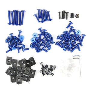 Motorcycle Fairing Body Bolts Kit Fastener Clips Screws Sportbike Blue