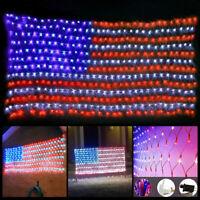 USA Flag Lights 390 LED American Flag Net String Light Hanging Garden Yard Decor