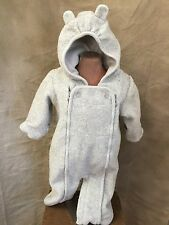 Baby GAP BEAR EARS HOOD BUNTING BAG Convertible ROMPER Gray Sherpa 1-piece 3-6 m