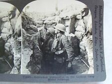 WW1 ENTRENCHED HIGHLANDERS ON LOOKOUT USING MIRROR PERISCOPE KEYSTONE STEREOVIEW