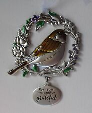 HD Open your heart be grateful BLESSED BEYOND MEASURE Bird Ornament car charm