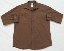 Dickies Brown Dress Shirt Button Front Medium 2 Pocket Cotton Top Long Sleeve