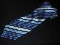 Charles Tyrwhitt Tie Blue Black Silver Stripe Thick Woven Itaian Silk Cotton NEW
