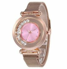 Crystal Gem Rose Gold Mesh Luxury Stainless Steel Ladies Wrist Watch Women Gift