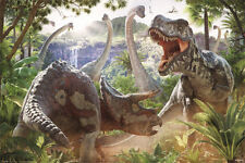 (176) NEW MAXI POSTER DINOSAUR BATTLE FIGHT T-REX TRICERATOPS DAVID PENFOUND