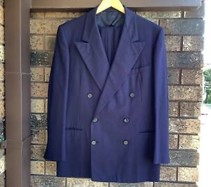 Original Vintage 1940s Navy Blue Gab Double Breasted Mens Suit American Made 42R