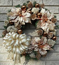 """20"""" Christmas Holiday Copper Brown Poinsettia Wreath"""
