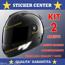 SET ADESIVI CASCO YAMAHA R1 R3 R6 MOTO SCOOTER decal sticker RIFLETTENTI