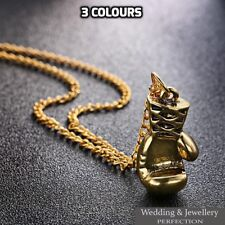 Mens Boxing Glove Pendant Necklace Chain Steel Charm Silver Gold Rocky Men Gift