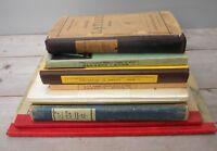 Lot 9 livres scolaires anciens latin algèbre arithmétique géographie ...