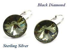 * * plata de ley-Rivoli-Negro Diamante Pendientes hecho con cristales de Swarovski