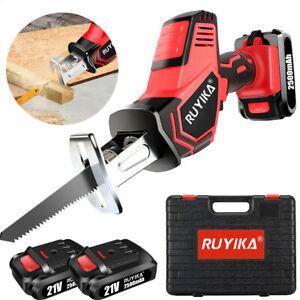 RUYIKA 21V Cordless Electric Reciprocating Recip Saw Wood Cutting w/ 2 Batteries