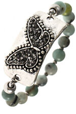 BEADED BUTTERFLY MIXED BEADS BRACELET HEMATITE Stretchable