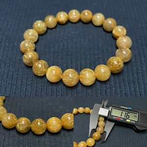 11.6mm Gold Natural Rutilated Quartz Round Crystal Beads Bracelet AAHigh quality