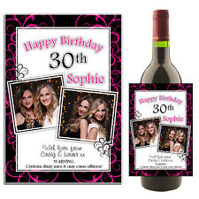Personalised Wine Champagne 18th 21st 30th 40th Birthday Bottle PHOTO Label N37