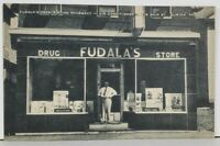 Duryea Pa Fudala's Drug Store Soda Fountain with Mr Fudula Posing Postcard M10