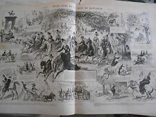 1875 PELE MELE de dessins Hyde Park et le bois de Boulogne