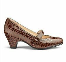Womens Mary Jane Shoe Size 9 Extra Wide Fit Ultra Low Kitten Heel Brown Croc NEW