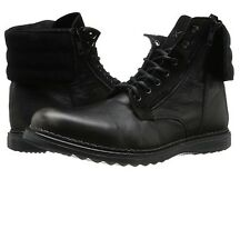 GBX Mens Trammel 57689 Casual Leather Lace Up Cuff Down Ankle Boot Black 9 / 9.5