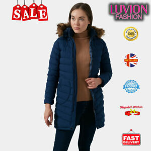 Turkish Made Ladies  Padded Bubble Fur Hooded Puffer Coat Jacket - NAVY