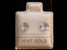 Feinste Mondstein Ohrstecker - 5 mm - 10 Kt. Gold - 417 - Ohrringe Brillant Cut