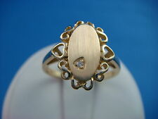 14K YELLOW GOLD LADIES SIGNET RING, HEART MOTIF, WITH GENUINE SMALL DIAMOND