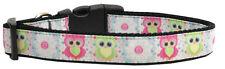 Dog Collar Pet Nylon Adjustable - Sweet Owls - Medium - 25-45cm