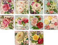 """10 vintage altered art roses 2"""" cards blank with envelopes and organza bag"""