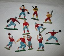 Vintage hard plastic baseball player red blue birthday cake toppers 11 pcs party