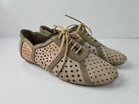 Gamins Soft Leather Lace Up Punch Three Tone Sneaker Shoe Women's Size EUR40