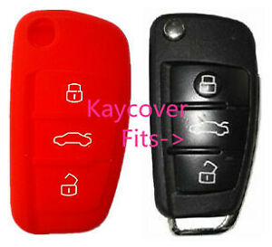 RED SILICONE CAR KEY COVER for AUDI A1 A3 Q3 Q7 R8 A6L TT