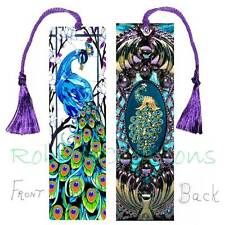 Peacock STAINED GLASS LARGE BOOKMARK Love Purple Vintage Style filigree ART Card