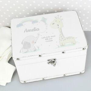 Personalised Keepsake Wooden Box Memory Box White Leatherette Keepsake Box