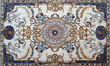 "108"" x 64"" Handmade Marble Mosaic Floral Rug Carpet Design Home Art Stone Decor"