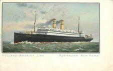 1908 Holland American Line Rotterdam New York Postcard 707