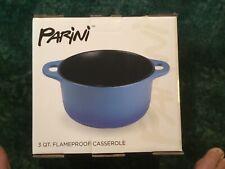 New listing New! Parini Flameproof Casserole Dish With Lid Large 3 Qt Quart Blue