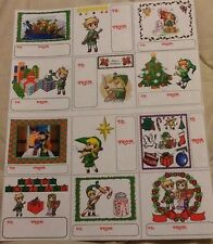 12 LEGEND OF ZELDA LINK STICKERS CHRISTMAS GIFT TAGS OR SUPER MARIO & FRIENDS