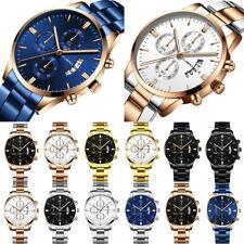 Mens Fashion Stainless Steel Band Watch Analog Date Sport Quartz Wrist Watch AU