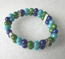 Blue/Green Miracle Bead Bracelet Double Row - LARGE SIZE -  Handmade