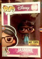 Funko POP! Jasmine Disney #68 HOT TOPIC Exclusive Near Mint Nerdy With Glasses.