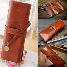 Retro Vintage Leather Cosmetic Makeup Bag Pen Pencil Holder Pocket Pouch Case