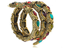 Gold Tone Multi Rhinestones Colorful Egyptian Snake Cuff Wrap Bracelet