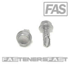 (50) #14 x 3/4 Stainless Steel Hex Washer Head Self Drilling Tapping TEK Screws