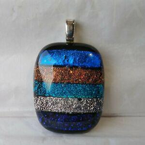 "Dichroic Glass Pendant Strips Blue Copper Aqua Silver Purple 1.5"" With Bale"