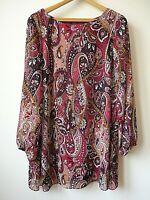New Womens Ex Evans Burgundy Paisley Print Chiffon LinedTunic Dress Plus Size 20