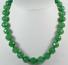 Stunning!10mm Green Emerald Faceted Round Beads Necklace 30""
