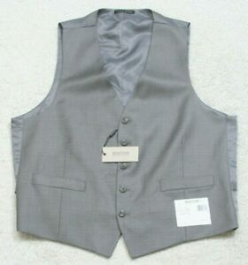 New Dress Vest Gray Kenneth Cole 5-Button Large Suit Mans Top Solid Poly Rayon