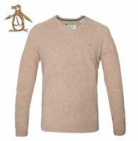 ORIGINAL PENGUIN Mens Jumper V Neck Lambs Wool Sand Marl Sweater Rib Trim BNWT