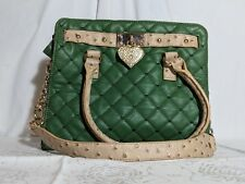 Green Quilted Faux Leather Gold Chain Tan Strap Purse Shoulder Handbag Heart EUC