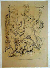 Unknown Artist Ink on Paper, Antique Scene of Angels 25x18 cm 18th 19th Century